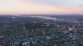 birdseye : Montreal Quebec Aerial v13 Flying over downtown panning with cityscape views at sunset