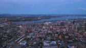 borough : Montreal Quebec Aerial v22 Flying over downtown panning at dusk with cityscape views
