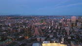 borough : Montreal Quebec Aerial v24 Flying low across downtown at dusk with cityscape views Stock Footage