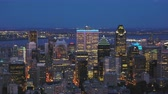 borough : Montreal Quebec Aerial v25 Flying low over downtown at dusk panning with cityscape views
