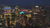 borough : Montreal Quebec Aerial v31 Flying low across downtown at dusk with cityscape views Stock Footage