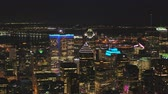 borough : Montreal Quebec Aerial v32 Flying low across downtown at night with cityscape views Stock Footage