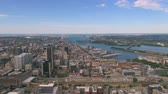 borough : Montreal Quebec Aerial v62 Flying over downtown panning with cityscape views Stock Footage