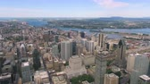 borough : Montreal Quebec Aerial v63 Flying over downtown panning down with cityscape views