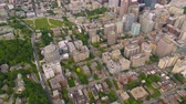 ilham vermek : Montreal Quebec Aerial v64 Flying over downtown panning up with cityscape views Stok Video