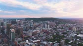 borough : Montreal Quebec Aerial v70 Flying over downtown panning with cityscape views at sunset