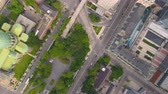 kraliçe : Montreal Quebec Aerial v67 Flying low over downtown buildings looking down vertically