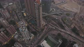tilted : Hong Kong Aerial v194 Birdseye view flying over Kowloon City panning down vertically