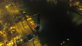 tilted : Hong Kong Aerial v197 Flying low over large shipyard terminal panning at night 217