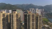 Hong Kong Aerial v210 Flying low up and over condominium buildings panning down in Sha Tin area 217