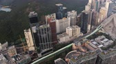 aberdeen : Hong Kong Aerial v217 Birdseye view flying low over Aberdeen area panning Stock Footage