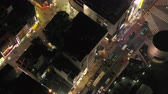 commuter : Japan Tokyo Aerial v102 Birdseye view flying low around famous Shibuya intersection area night 217