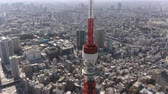 minato : Japan Tokyo Aerial v118 Flying low around Tokyo tower with cityscape views