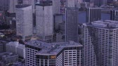 Japan Tokyo Aerial v141 Closeup birdseye view flying around condominium complexes dusk Stock Footage