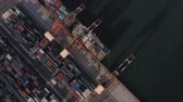 Japan Tokyo Aerial v136 Vertical birdseye view flying over shipyard area panning Stock Footage