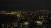 Japan Tokyo Aerial v148 Flying low over downtown Minato area panning cityscape views night