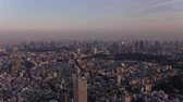 government district : Japan Tokyo Aerial v154 Flying over Shinjuku area cityscape views sunset