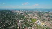 Montreal Quebec Aerial v85 Flying high panning with full cityscape views