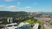 Montreal Quebec Aerial v87 Flying low backwards over hospital building cityscape views 717