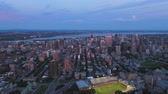 Montreal Quebec Aerial v97 Flying over downtown panning at dusk with cityscape views 717