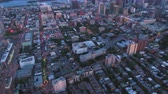 Montreal Quebec Aerial v99 Birdseye view flying near summer street festival downtown at dusk