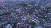 Montreal Quebec Aerial v100 Birdseye view flying around street festival dusk panning up