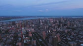 Montreal Quebec Aerial v98 Flying across downtown at dusk with cityscape views 717