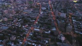 borough : Montreal Quebec Aerial v103 Birdseye view flying over downtown area panning up to cityscape at dusk