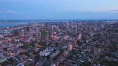 Montreal Quebec Aerial v102 Flying over downtown panning at dusk with cityscape views Stock Footage