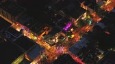 Montreal Quebec Aerial v107 Birdseye view flying low around summer street festival downtown at night 717 Stock Footage