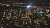 borough : Montreal Quebec Aerial v112 Flying low over downtown at night panning with cityscape views