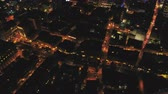 Montreal Quebec Aerial v113 Flying over downtown waterfront area panning up cityscape views night Stock Footage