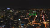 Montreal Quebec Aerial v114 Flying over downtown waterfront area panning with cityscape views at night Stock Footage