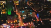 ilham vermek : Montreal Quebec Aerial v111 Birdseye view flying low around summer festival downtown at night 717