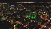 Montreal Quebec Aerial v115 Flying low over downtown at night panning down cityscape views 717 Stock Footage
