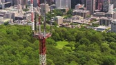 Montreal Quebec Aerial v119 Birdseye flying across Mount Royal park with downtown and cityscape views Stock Footage