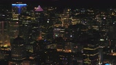 Montreal Quebec Aerial v117 Flying low over downtown at night panning down cityscape views 717