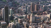 Montreal Quebec Aerial v123 Birdseye view flying low over downtown buildings 717
