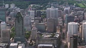 hillside : Montreal Quebec Aerial v124 Birdseye view flying low over downtown buildings 717
