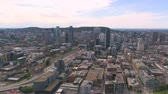borough : Montreal Quebec Aerial v127 Flying over waterfront area panning with cityscape views 717