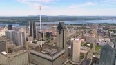 borough : Montreal Quebec Aerial v131 Flying low over downtown buildings with cityscape views 717