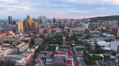 Montreal Quebec Aerial v132 Flying low over downtown panning with cityscape views sunset 717 Stock Footage