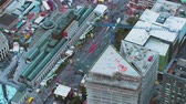 Montreal Quebec Aerial v139 Birdseye view flying low around downtown festival 717 Stock Footage
