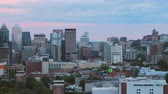 Montreal Quebec Aerial v141 Flying low across downtown with cityscape views at dusk 717 Stock Footage