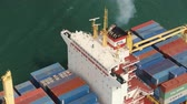 Hong Kong Aerial v36 Flying low around and over large cargo ship cineflex look. 217