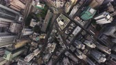 Hong Kong Aerial v40 Vertical view flying over Tai Ping Shan and Central areas. Stock Footage