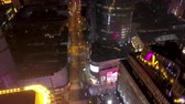 Shanghai China Aerial Zeitraffer Night v1 Flying Birdseye Blick über berühmte Bund Walking Street. Videos