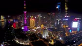 Shanghai China Aerial Time Lapse Night v5 Flying from high to low into busy financial district. Stock Footage