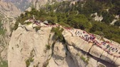 birdseye : China Mt Huashan Aerial v9 Flying over mountain climbing path and peak 517