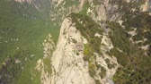 mavic : China Mt Huashan Aerial v13 Flying high over mountain climbing path and peaks 517 Stock Footage